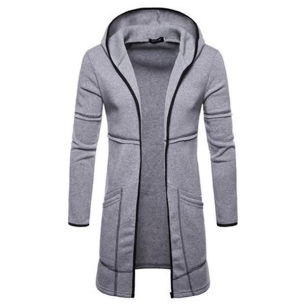Brand 2018 New winter Hoodies Men Black Cardigan Longer Hoodie Men Hooded Mantle Hip Hop Clothing Cloak Hoodie Outerwear