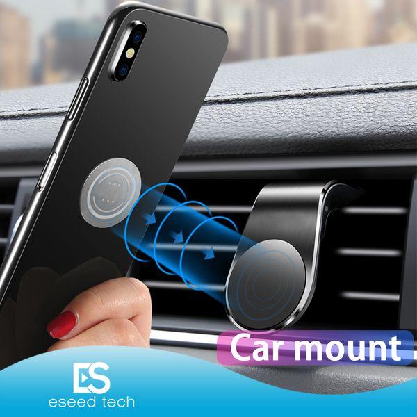Магнитный Автомобильный держатель телефона Маунт Стенд для iPhone Samsung Xiaomi Huawei L-Type Car Air Vent Mobile для телефона Универсальный с розничным пакетом