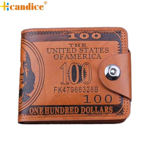 Hcandice US Dollar Bill Wallet Brown Leather Wallet Bifold Credit Card Photo Best Gift Jan6