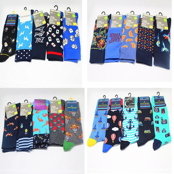 Animal letter dice printing long socks Playing card Harajuku Personalized novelty funky Comfortable Casual men Calcetines sokken