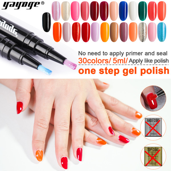 93b47a4a2e Yayoge Gel Nail Polish Pen for Nail Art Glitter One Step Gel Pencil 10 set  2pcs 2 Colors Soak Off Varnish Gel