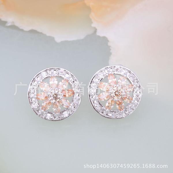 Source supplier Korean jewelry Baitao fashionable circular zircon ear nails antiallergy Earrings E1714