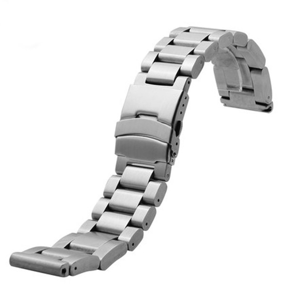 High Quality 22mm 24mm 26mm Silver Solid Link Stainless Steel Bracelet Watch Band Folding Clasp Strap Replacement Mens Free Ship