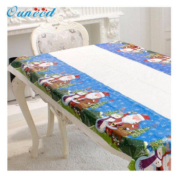 Table Cloth Disposable Merry Christmas Rectangular Printed PVC Cartoon Tablecloth 110x180cm 2018 Dropshipping D19010902