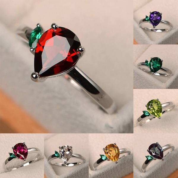 Gotas de Água colorida Anel De Casamento De Cristal Verde Folha Pear-shaped Rainbow Zircon Anéis Mulheres Presente Da Jóia
