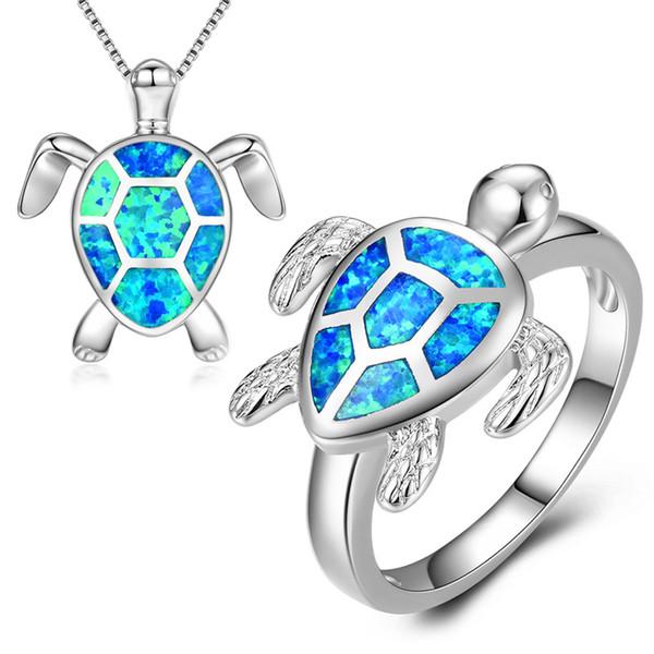 JUNXIN Cute Animal Turtle Anillo y collar Conjuntos de joyas 925 plata esterlina llena de ópalo de fuego azul Collares pendientes para mujeres