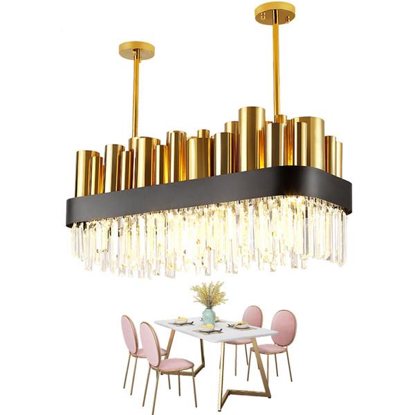 2019 moderne cristal lustre en cristal poli en acier salle à manger luminaire rectangle luminaire AC110-240V Cristal lampe