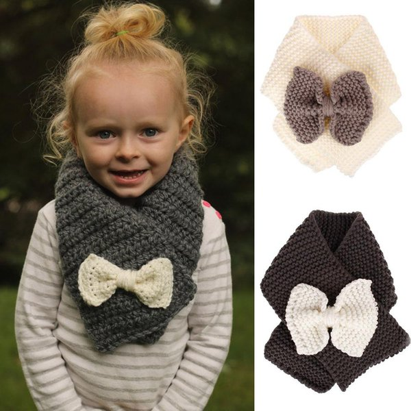 INS Baby Winter Knitted Scarf Crochet Children Girls Boys Neck Ring Scarf With Bow Kids Warm Knit Scarves 4 colors C5619