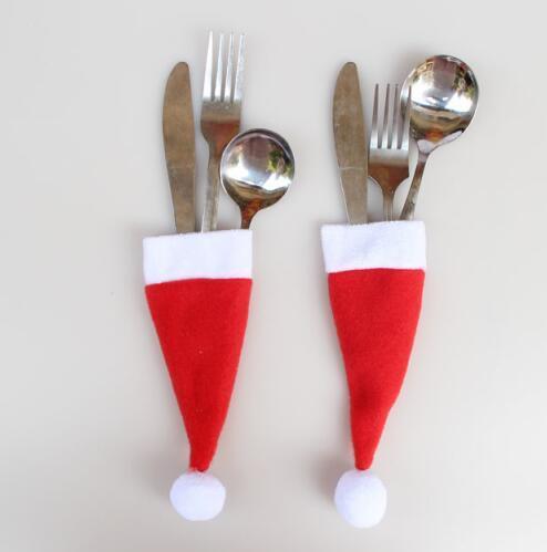 Sostenedor del sombrero rojo de navidad Cubiertos Holder Vintage Shabby Chic encaje encaje vajilla bolsa de embalaje tenedor cuchillo de bolsillo decoración del partido CFG37