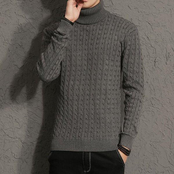 New Winter Men Brand Casual Thick Warm Sweater Turtleneck Striped Slim Fit Knitting Men's Sweaters Pullovers Men Pullover M-5XL