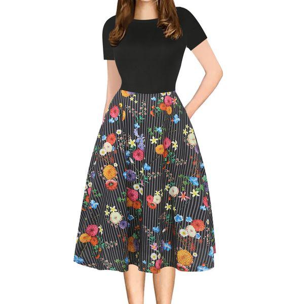 Vestido de Moda Das Mulheres Do Vintage Patchwork Bolsos Inchados Swing Imprimir Vestidos de Festa Casuais Feitong algodão Confortável Vestido novo 2019
