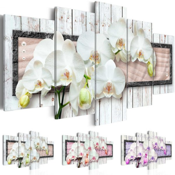 Unframed 5pcs/set Canvas Print Modern Abstract Floral Flower Orchid Painting Home Decoration for Living Room Gifts Christmas Decoration,Choo