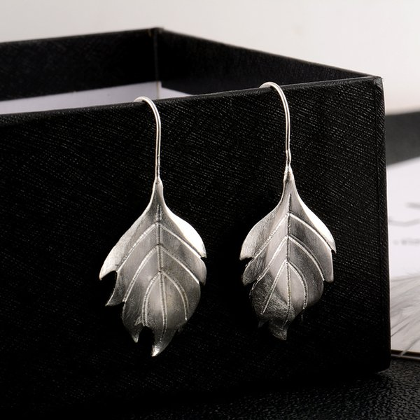 2d65cddfd New Arrivals Real 925 Sterling Silver Retro Fashion Matte Maple Leaf Drop  Earrings Jewelry Earrings For
