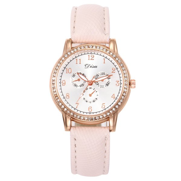Trend Three eyes Six needles Leather Watch Concise trend Temperament Leather Watches Delicate Quartz Women Wrist Watch