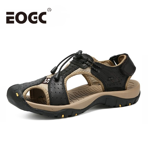 Classic Men Beach Sandals Plus Size 38-46 Genuine Leather Men Sandals Summer Leather Shoes for Beach Outdoor Walking shoes male