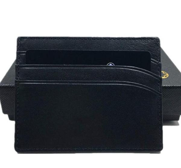 Реальная кожа ID card Case кошелек классический черный тонкий держатель кредитной карты кошелек 2020 Новая мода бизнесмены тонкий кошелек для монет Карманная сумка