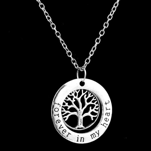 Forever In My Heart Ring Necklaces Family Member Life of Tree Mom Big Little Sister Peace Best Friends Pendant Fashion Jewelry Gift 161757