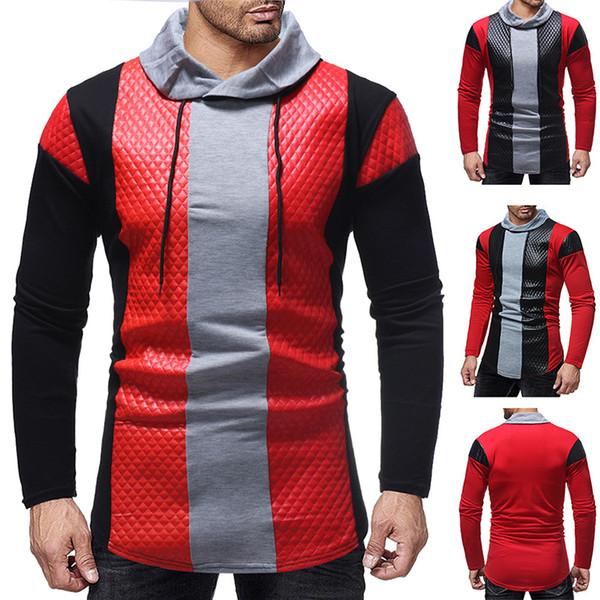 Men's Patchwork Sweatshirt With Pu Leather Long Sleeve Mens Sweatshirts Hoodies Casual Lapel Neck Homme Causal Hip Hop Tracksuit