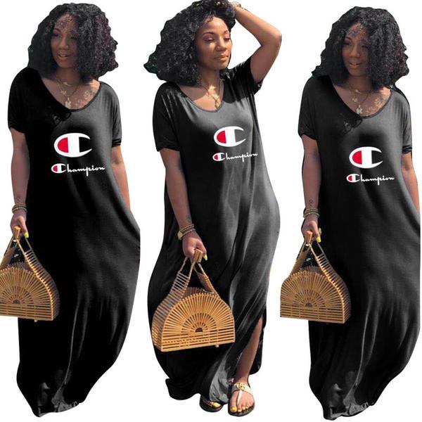 Women Champions Letter Long Dress Loose V-Neck Split Summer Dresses Flat Off Shoulder Short Sleeve Low Back Skirt Clothing Outfits A41602