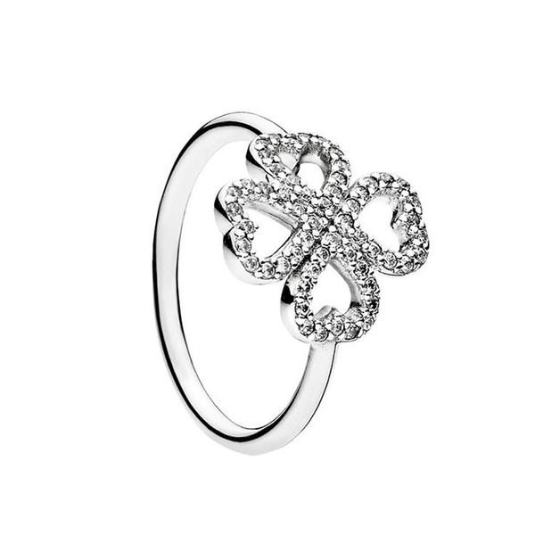 Authentic 925 Sterling Silver Flower Wedding Rings Original Box for Pandora CZ Diamond clover Ring Set Women Gift Jewelry Set