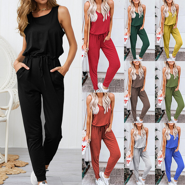 Women Sleevless tank Jumpsuit Vest Pants Club Sexy Casual Loose solid Playsuit Party Ladies Rompers bandage Outfit LJJA2495