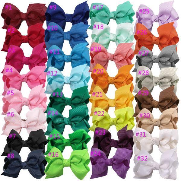 100 stücke heißer verkauf Korean 3 ZOLL Ripsband Hairbows Baby Mädchen Zubehör Mit Clip Boutique Haarbögen Haarnadeln haargummis 31 farben