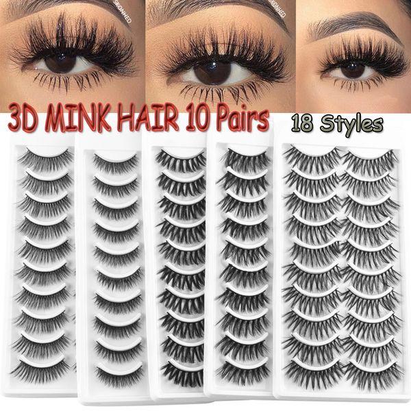 10 Pairs 3D Soft Mink Hair False Eyelashes Wispy Fluffy Crisscross Natural Long Lashes Handmade Makeup Eye Lashes Extension Tool
