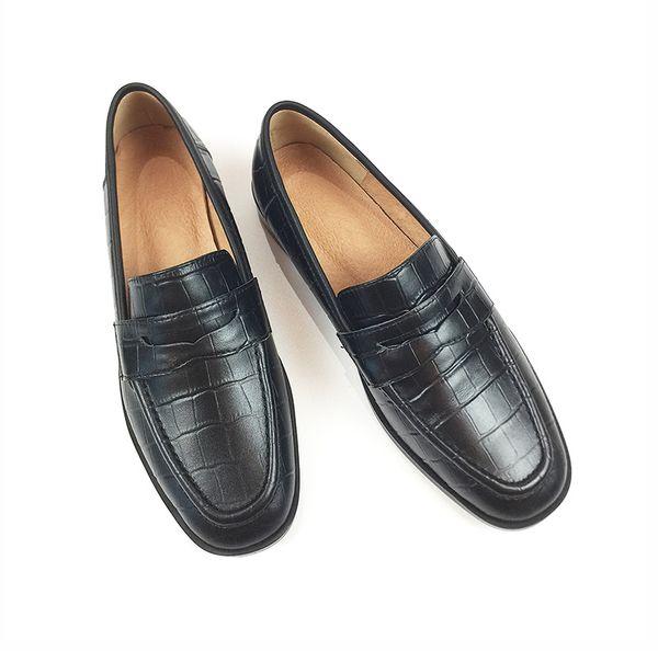 Frauen Napparindsleder Schuhe Loafer Alligator Freizeitschuhe Designer Damen Wohnungen Schuhe Beleg Fahren auf Platz Toe Lederfutter Fabrik