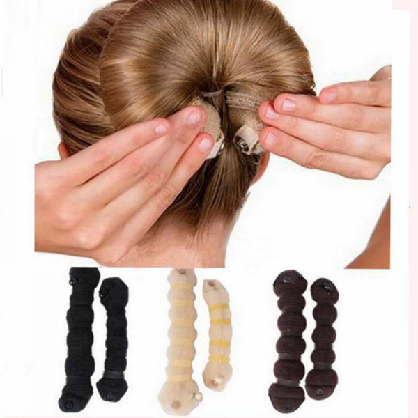 Apparel Accessories Headwear 2pcs/set (1 large + 1 small) Hot Fashion Magic Elegant Buns Hair Style Bun Maker Women Hair Accessories