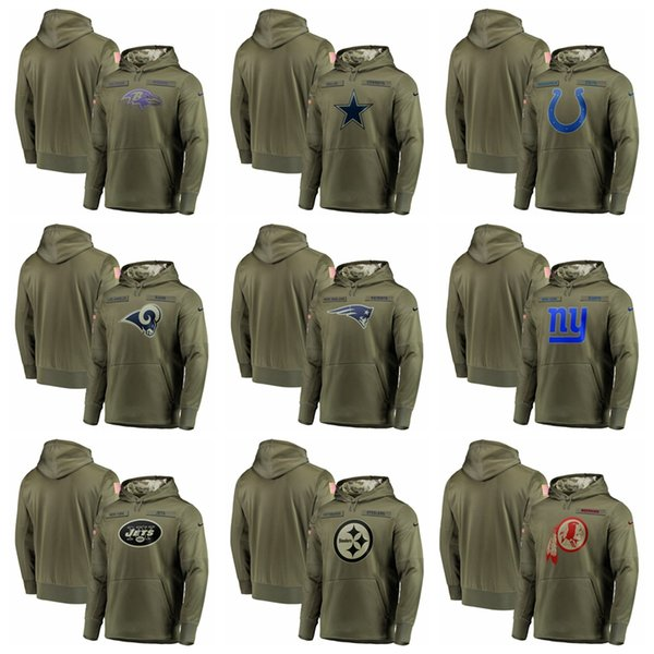 new style 07134 0b167 2019 2018 19 NEW Hot Ravens Cowboys Colts Rams Giants Redskins Olive Salute  To Service Sideline Therma Performance Pullover Hoodie From Bestgoods_, ...