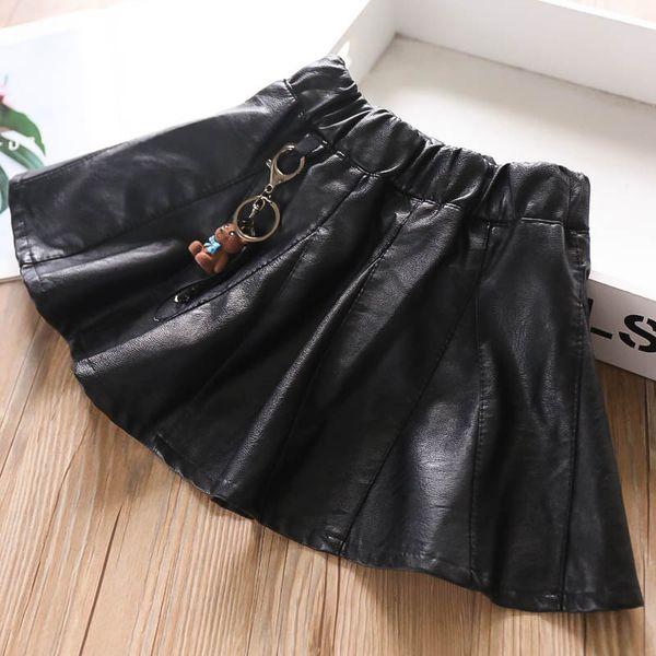 Cartoon Pu leather girls skirts fashion kids designer clothes girls shorts skirts new 2019 autumn winter kids clothes girls clothes A8051