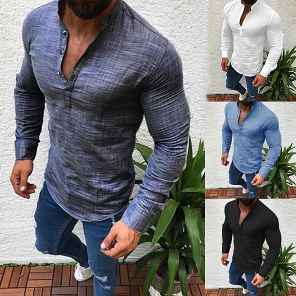 top popular 2019 Sexy Men Long Sleeves V Neck Blouse Summer Fashion Casual Cool Clothing Slim Fit Tees Tops Male Breathable Linen Shirts n2019 2020