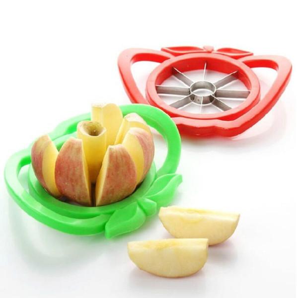 Apple Slicer Cutter carottier Diviseur en plastique de cuisine en acier inoxydable Fruit outil LX5737