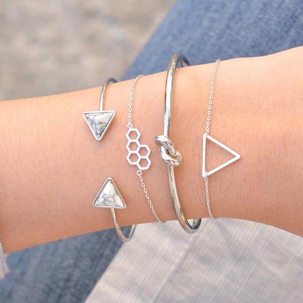 Yüksek kalite moda takı yaratıcı kovan hollow üçgen bilezik basit açık ayarlanabilir düğümlü bileklik 4 parça bilezik seti