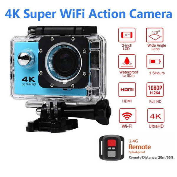 Ultra HD 4K 30fps Action Camera 30m waterproof 2.0' Screen 1080P 16MP Remote Control Sport Wifi Camera extreme HD Helmet Camcorder car Cam