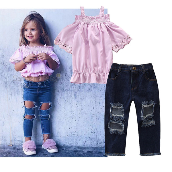 2019 new summer explosion models baby girls strap pink t shirt + hole jeans 2pcs/suit kids tops trousers set girl