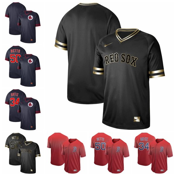 Fade Drift Fashion Boston 50 Mookie Betts David 34 Ortiz Cooperstown Collection Rétro Collection Motif Col V Col en V Rouge Sox Or Noir
