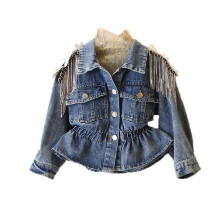 2019 autumn and winter clothing new girl heavy work rhinestone tassel decoration waist denim jacket girls coat