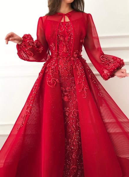 2019 Luxurious Red Sexy African Evening Dresses Crew Long Sleeves Lace Sheath Prom Dresses Gorgeous Formal Party Bridesmaid Pageant Gowns
