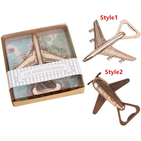 New Helicopter Airplane Bottle Opener Antique Alloy Plane Shape Beer Wine Opener Wedding Gift Party Favors Kitchen Tool Retail Pack