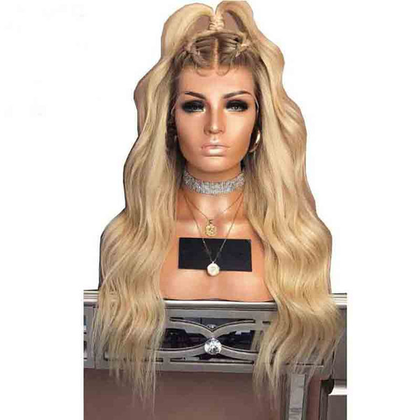 Glueless Colored 180 Density Ombre Lace Front Human Hair Wig 613 Blonde Pre Plucked Dark Roots Wavy Brazilian Remy Lace Wigs