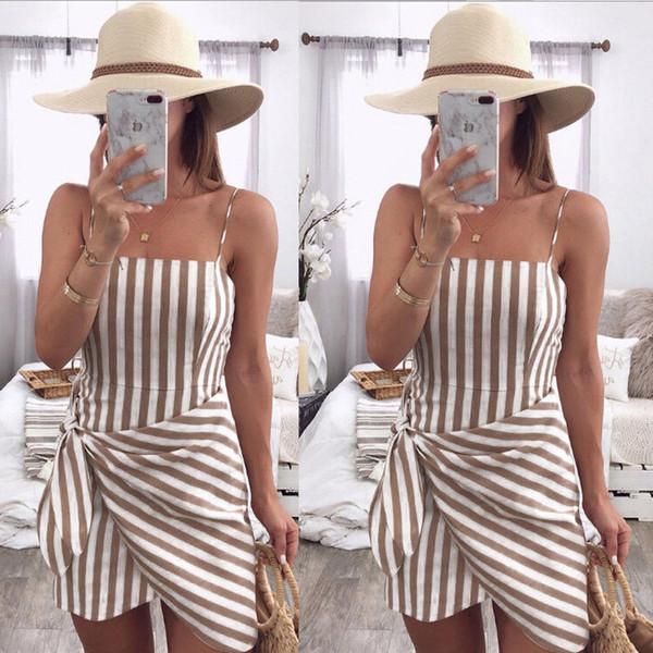Women Lady Summer Повседневные платья без рукавов Полосатый бандажный узел Платье Ремень Пляжный сарафан