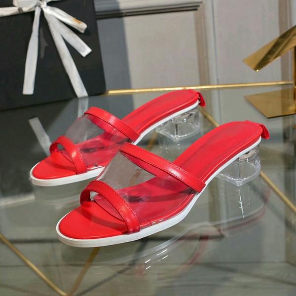 2019 NUEVAS sandalias de mulas coloridas ROJO AZUL NEGRO Diseñador de lujo Zapatillas Mulas PVC Moda Mujer Zapatos de tacón bajo de tacón bajo Marcas