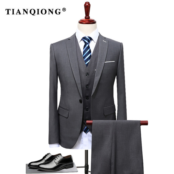 Tian Qiong 2019 Famous Brand Mens Suits Wedding Groom Plus Size 4xl 3 Pieces(jacket+vest+pant) Slim Fit Casual Tuxedo Suit Male Q190428