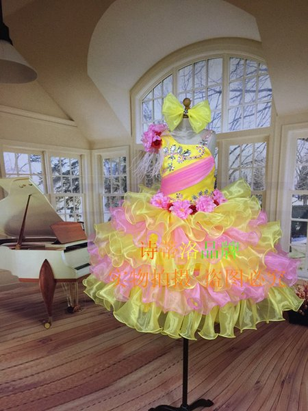 All sorts of color Halter Young children Color diamond Mini Ball Gown Organzar Fold Girls Pageant Dresses Girls Birthday Party Dress