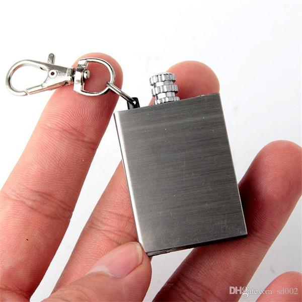 Schlüssel Schnalle Platz Edelstahl Match Metall Shell Wiederverwendung Zünder Wasserdichte Art Flint Outdoor Camping Survival Tool