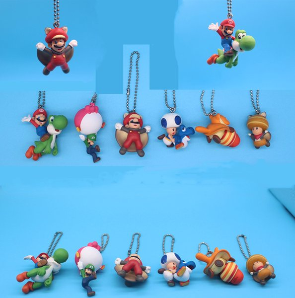 Mario Pendant Original 6 pcs/lot Super Mario Bros Keychain Keyring Ornament Cosplay Collection Gift Mario Action Figures doll toys