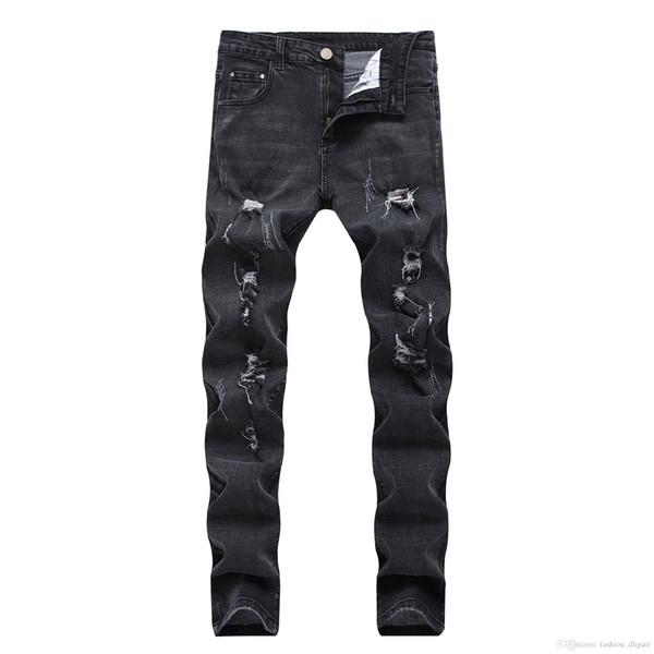 Homens Calças De Brim Pretas 2019 Roupas Nova Chegada Slim Fit Trecho Rasgado Jeans Moda Calças Jeans Denim Calça Jeans dos homens de Rua 28-42