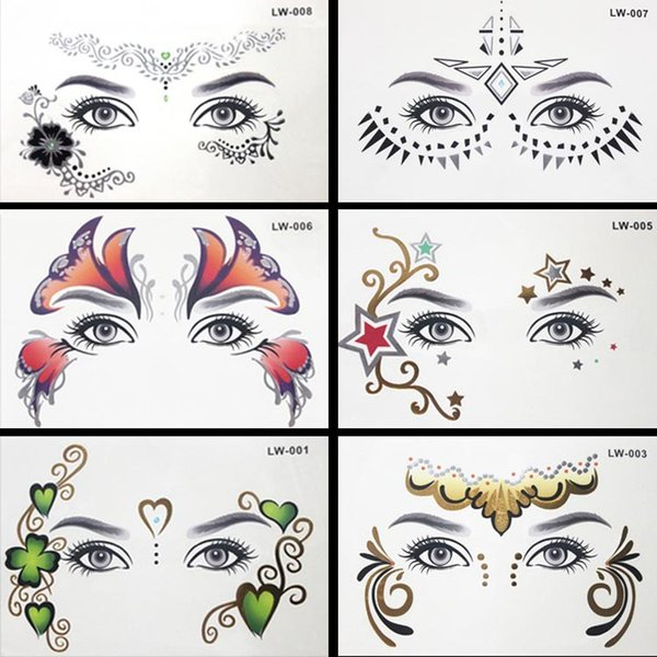 8pcs/lot Body paint Masquerade golden flash tattoo paste face temporary tattoos