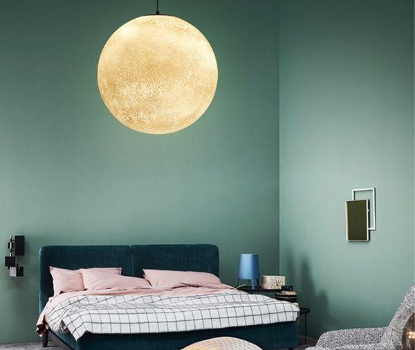 Nordic Schlafzimmer Nacht Mond Pendelleuchten Studie Kunst Restaurant Wohnzimmer Planet Moon Luna Hängelampen Dekorative Leuchten LLFA